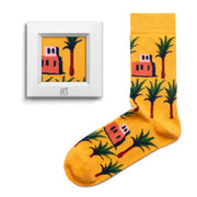 frame socks yellow palm tree colorful socks artsocks