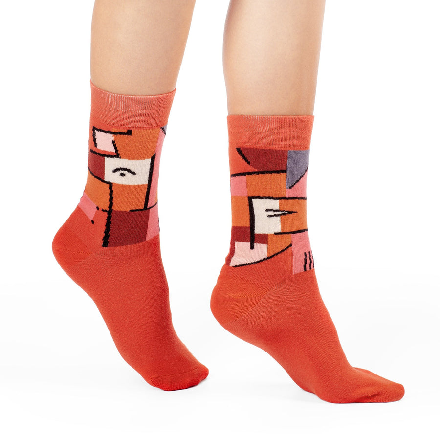 View from Red by Paul Klee colorful art socks artsocks