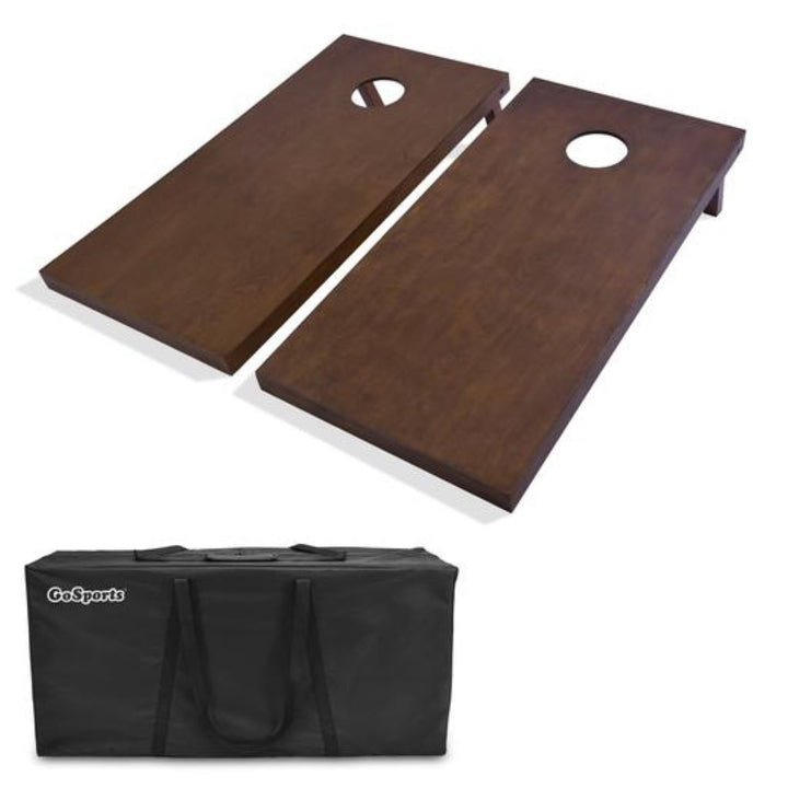 Solid Dark Stained Wood Cornhole Set (Regulation Size)