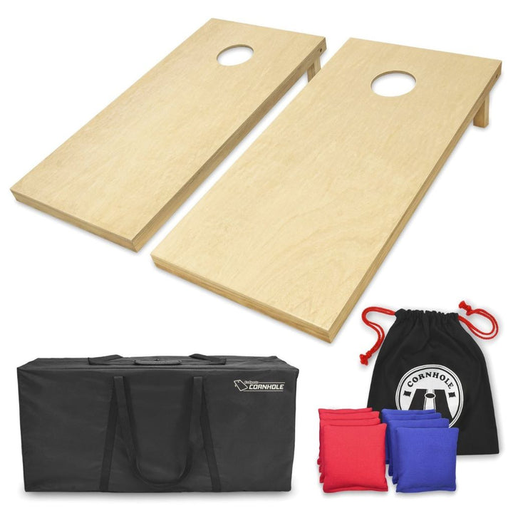 Solid Natural Wood Cornhole Set (Regulation Size)