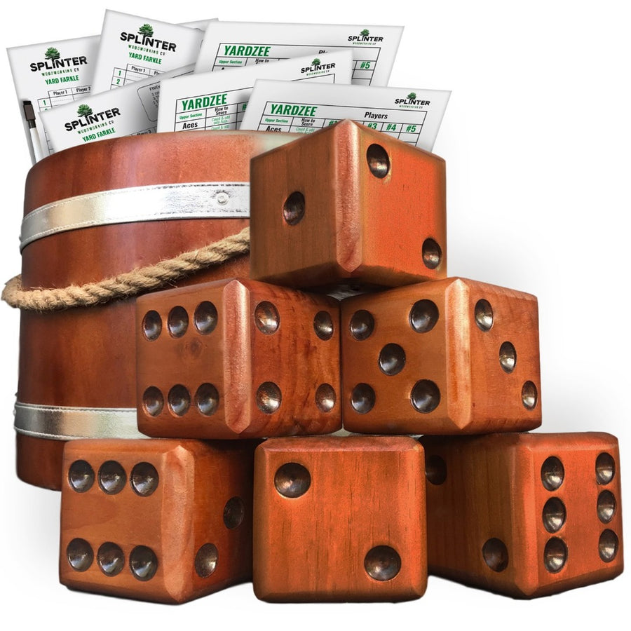 Yardzee & Farkle Giant Dice with Wooden Bucket (20+ Games Included)