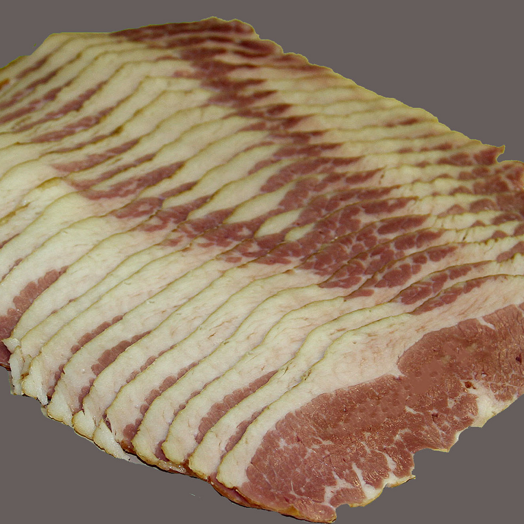 "Pork Bacon not your ""thing""?  Try our beef bacon from our smoked brisket!  Sliced right for frying! 1.0 pound ave."