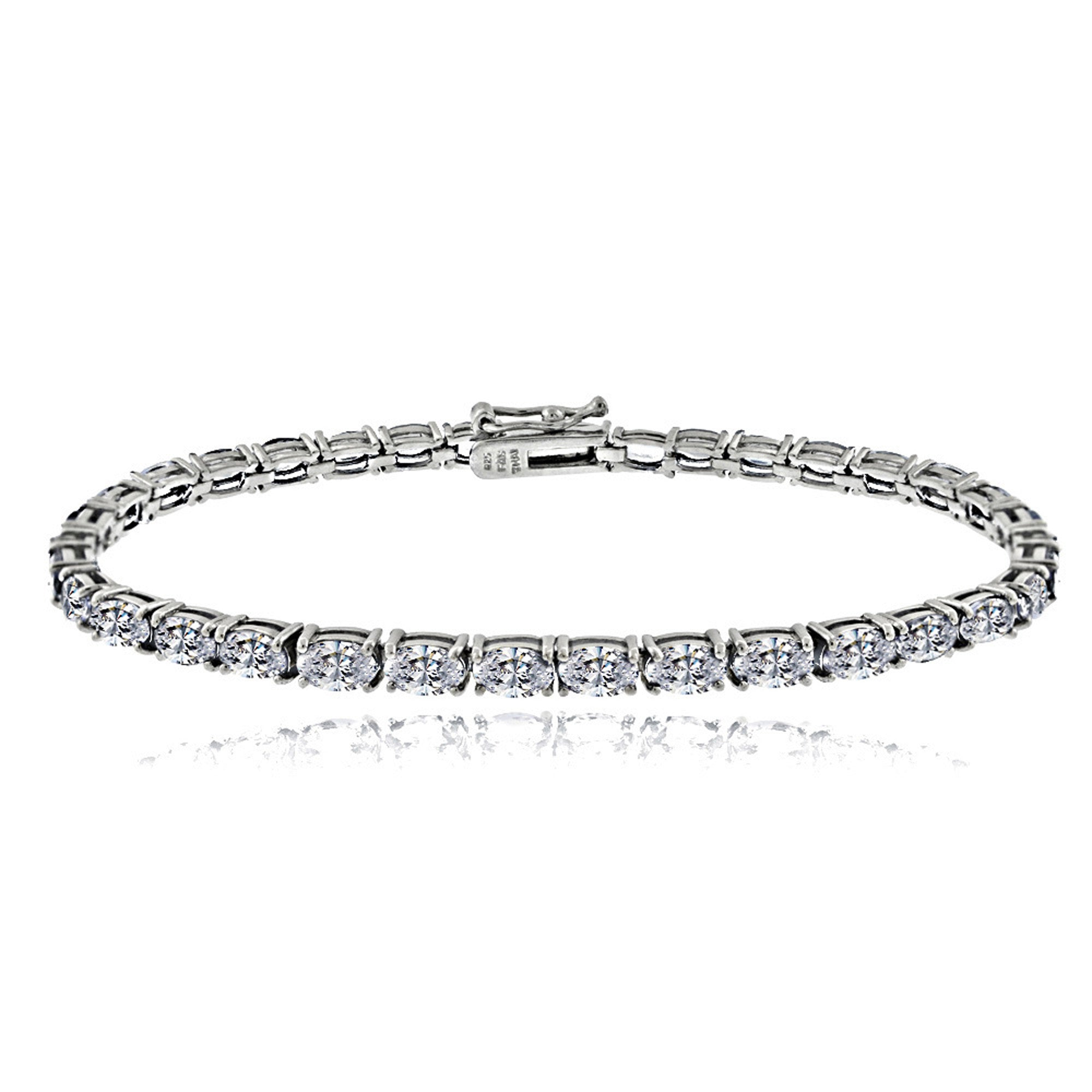 Birthstone Tennis Bracelet With CZ & Gem Accents in Sterling Silver - April Cubic Zirconia