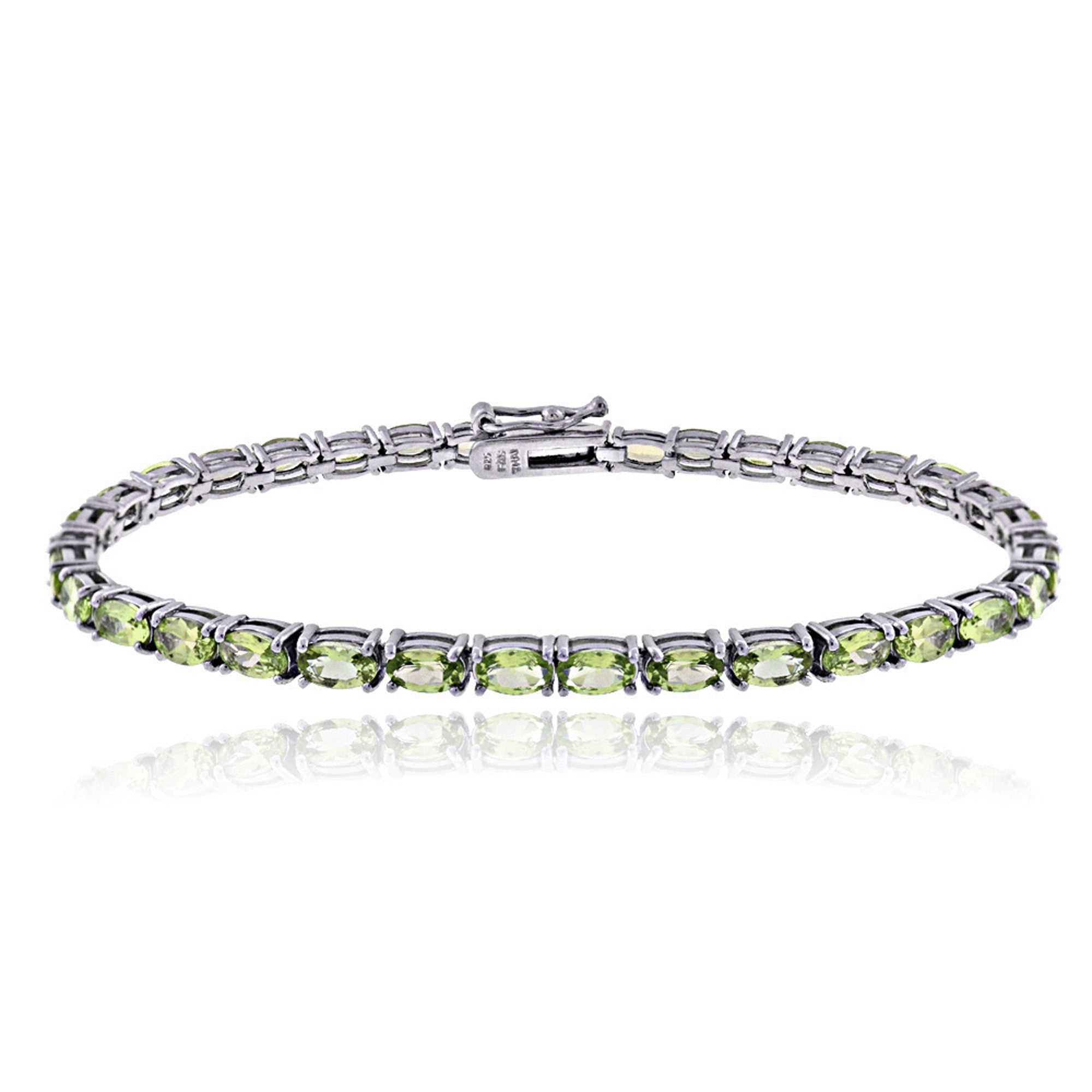 Birthstone Tennis Bracelet With CZ & Gem Accents in Sterling Silver - August Peridot