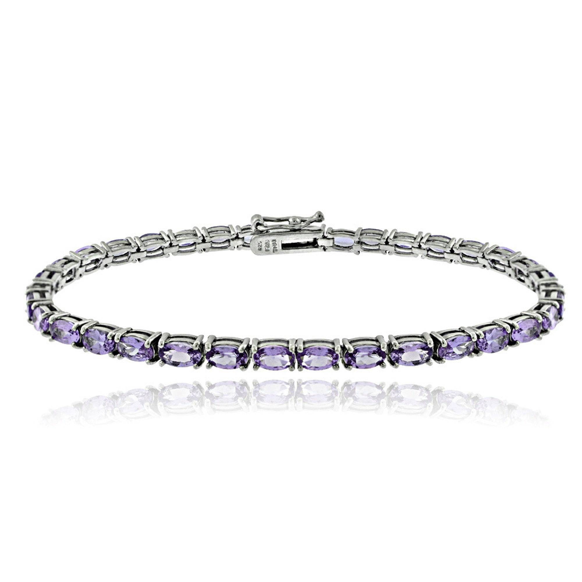 Birthstone Tennis Bracelet With CZ & Gem Accents in Sterling Silver - February Amethyst