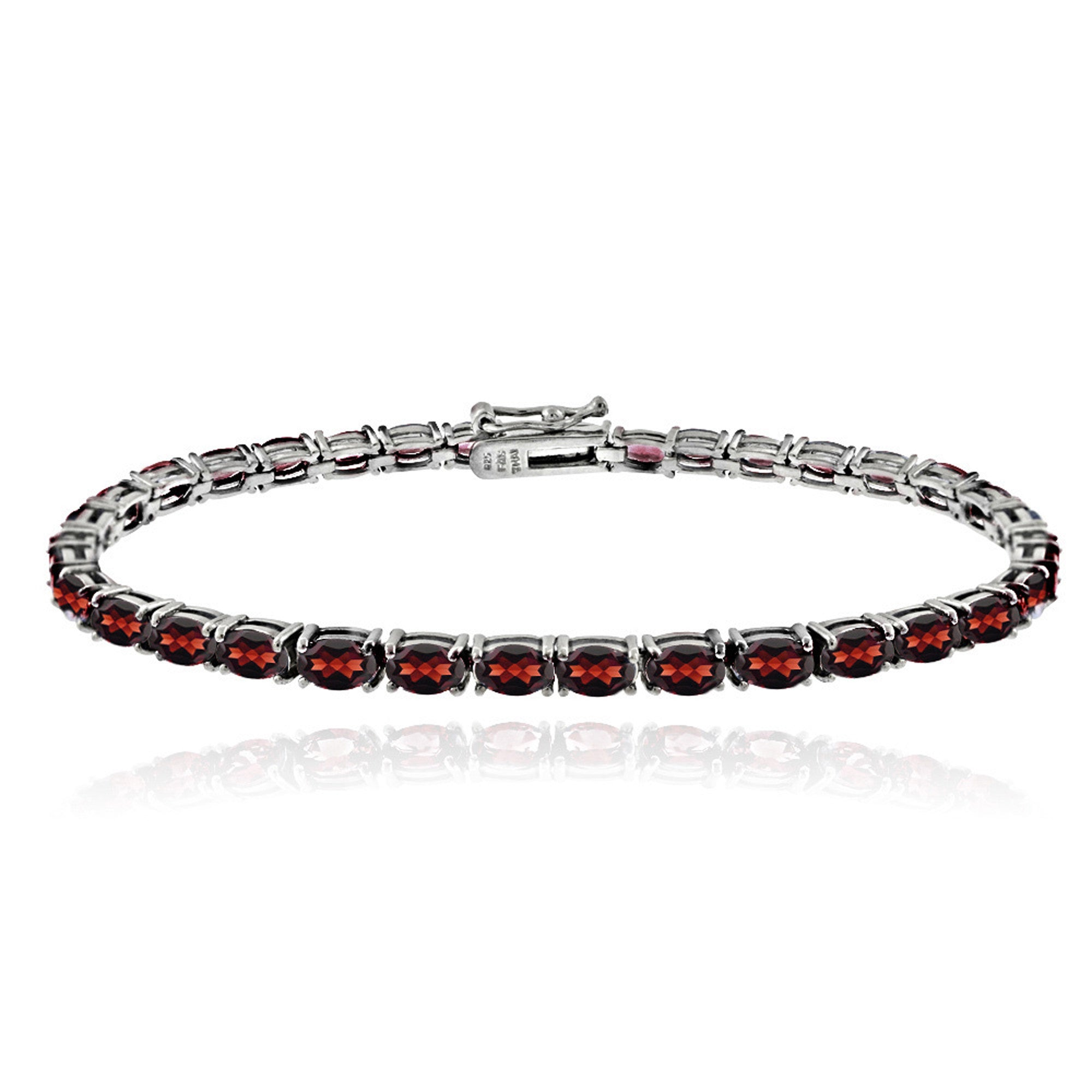 Birthstone Tennis Bracelet With CZ & Gem Accents in Sterling Silver - January Garnet