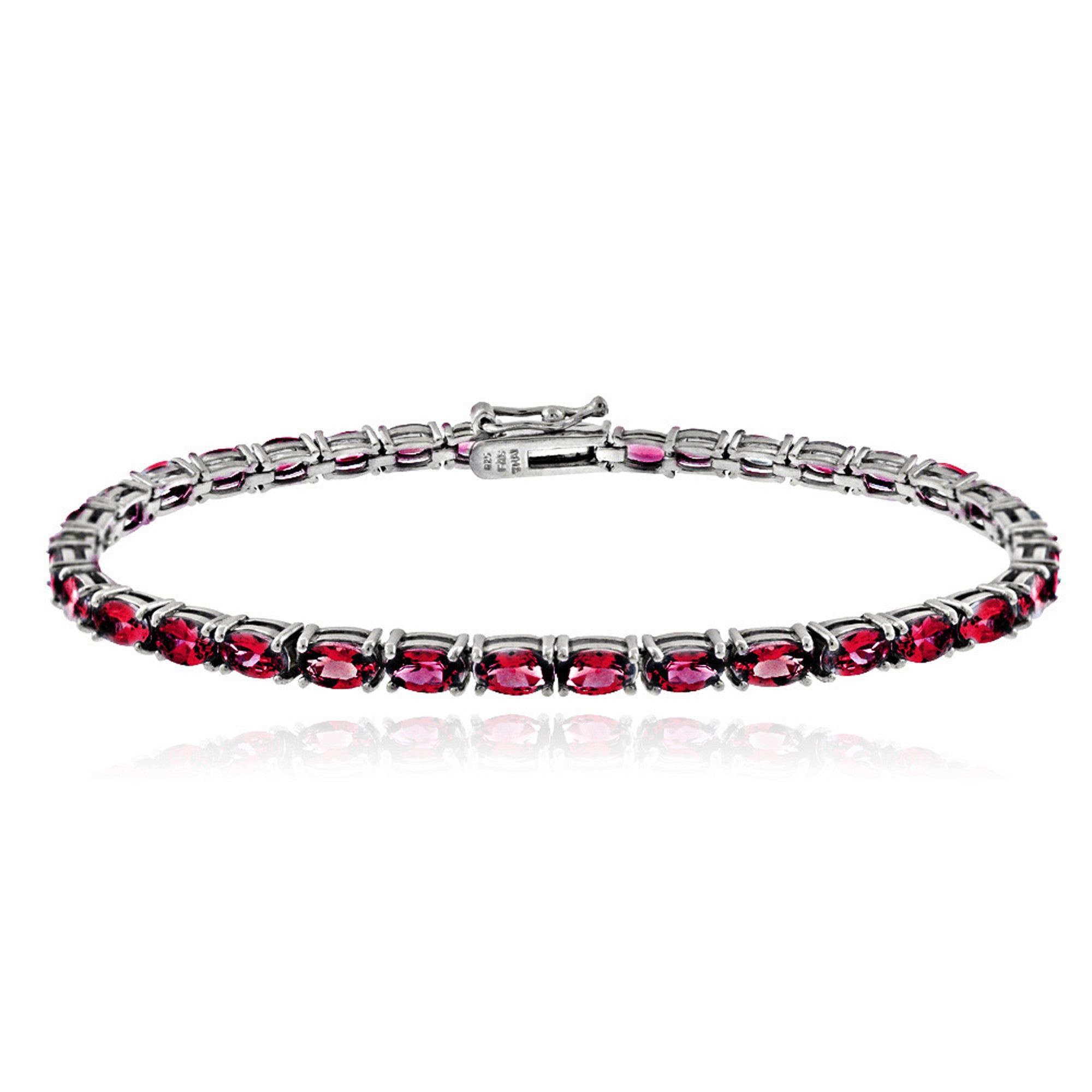 Birthstone Tennis Bracelet With CZ & Gem Accents in Sterling Silver - July Created Ruby