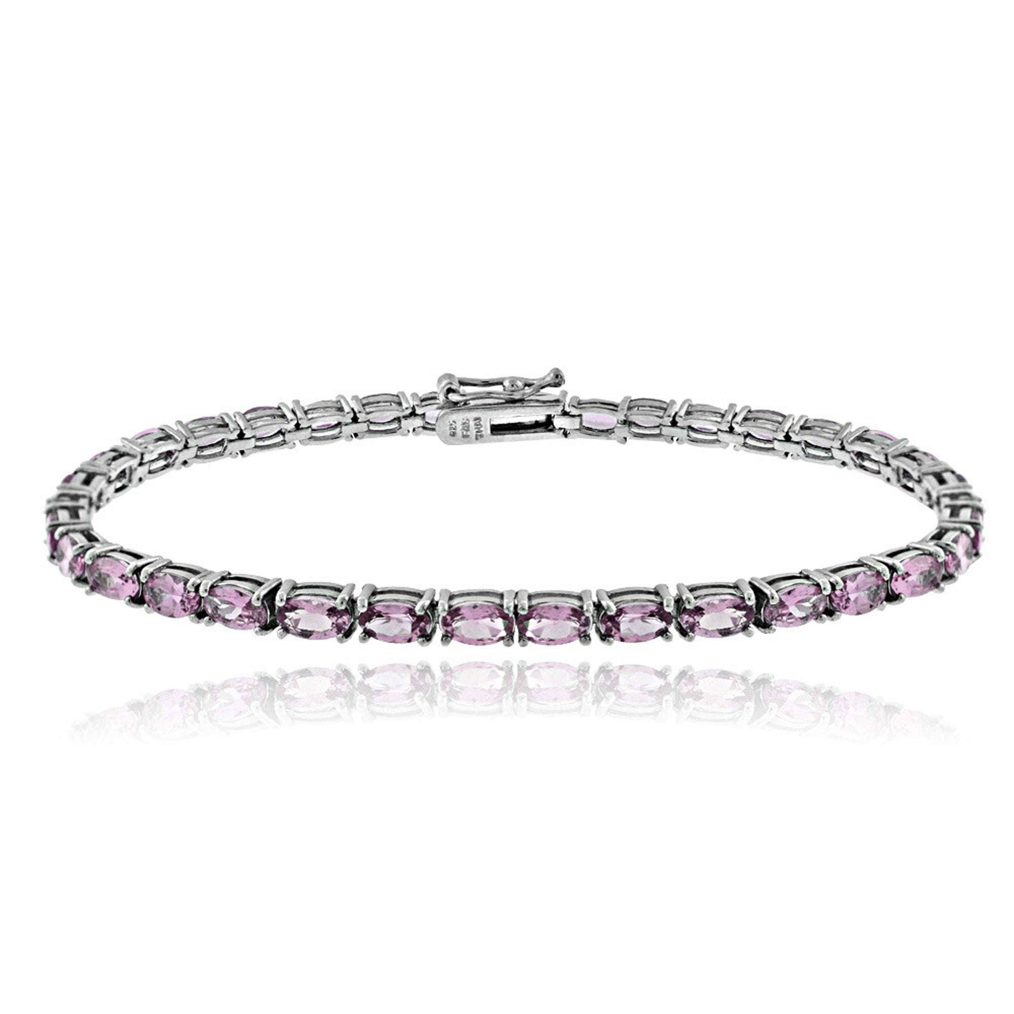 Birthstone Tennis Bracelet With CZ & Gem Accents in Sterling Silver - June Alexandrite