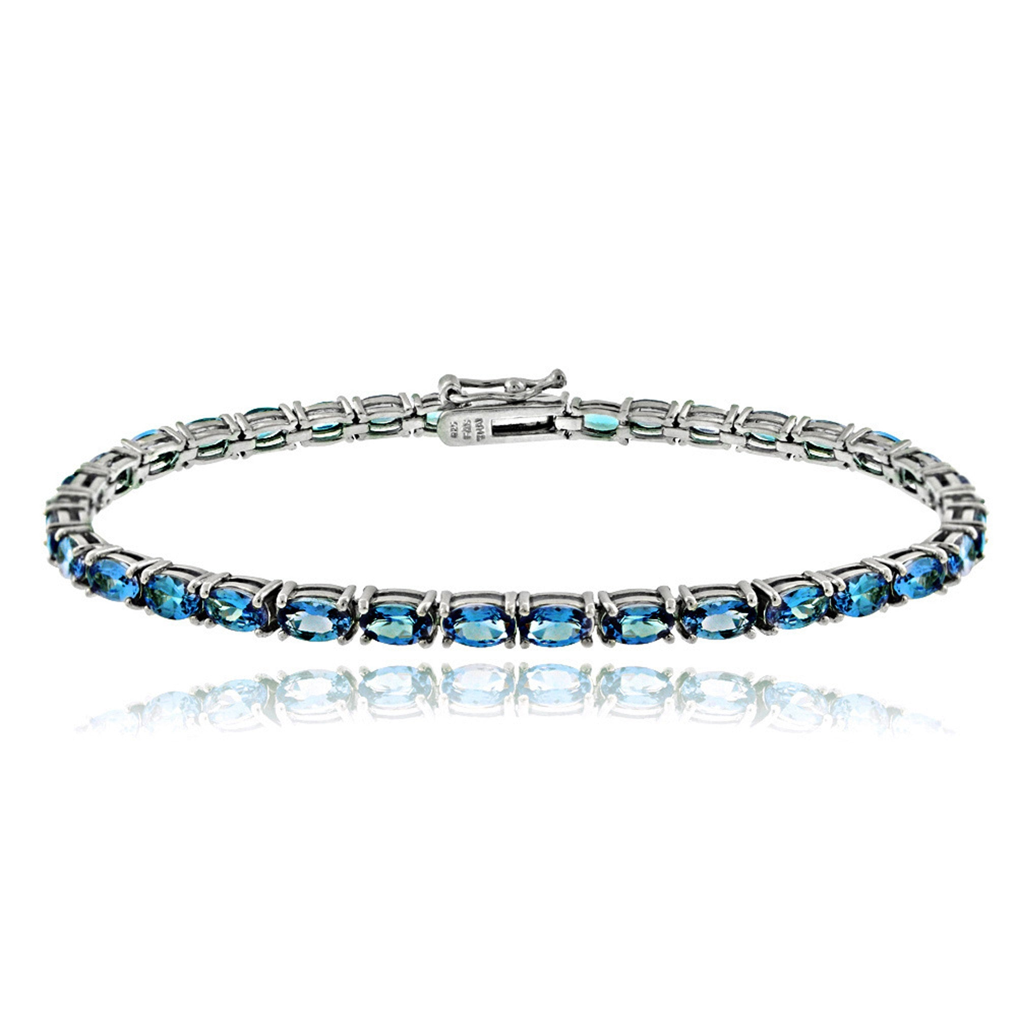 Birthstone Tennis Bracelet With CZ & Gem Accents in Sterling Silver - March Aquamarine