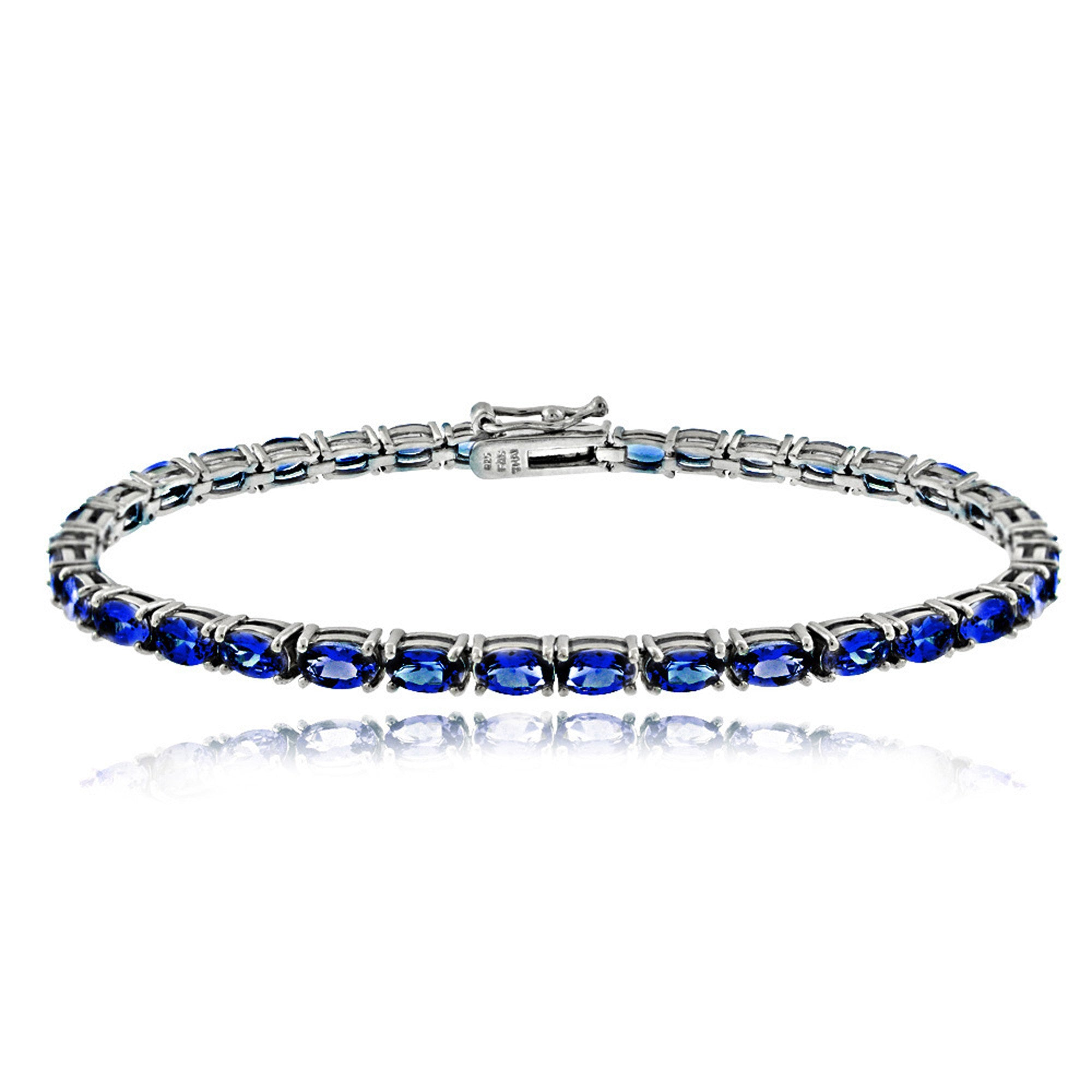 Birthstone Tennis Bracelet With CZ & Gem Accents in Sterling Silver - September Sapphire
