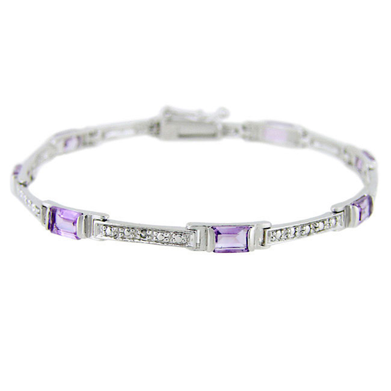 Diamond & Gemstone Accented Bracelet in Sterling Silver - Amethyst