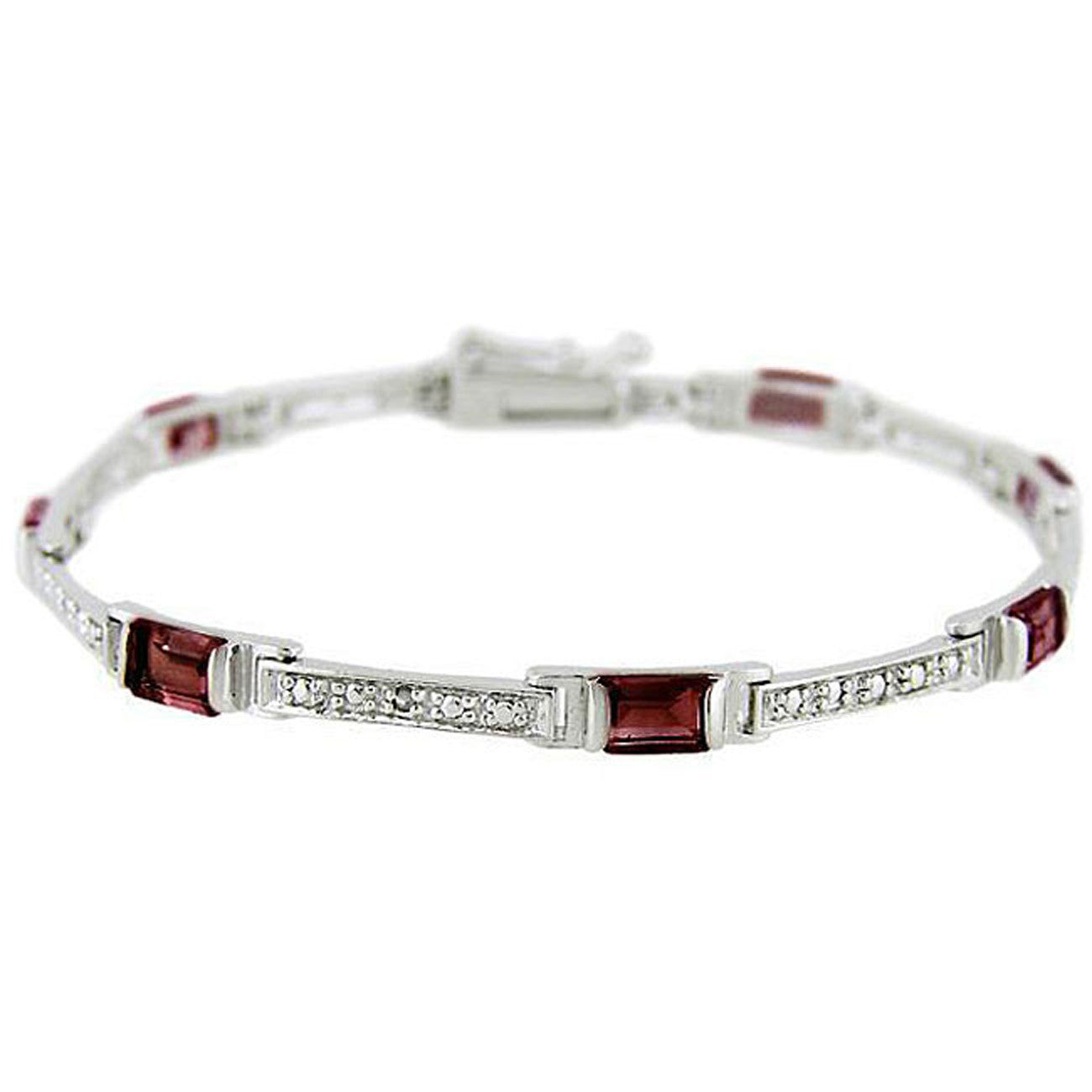 Diamond & Gemstone Accented Bracelet in Sterling Silver - Garnet