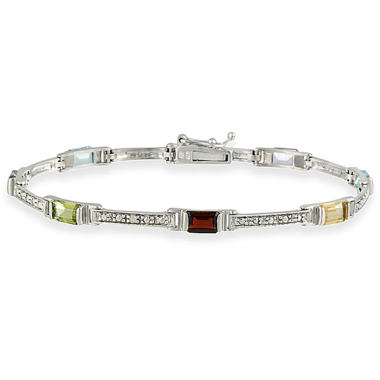 Diamond & Gemstone Accented Bracelet in Sterling Silver - Multi