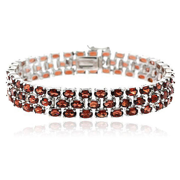 Three Tier Garnet Bracelet in Sterling Silver