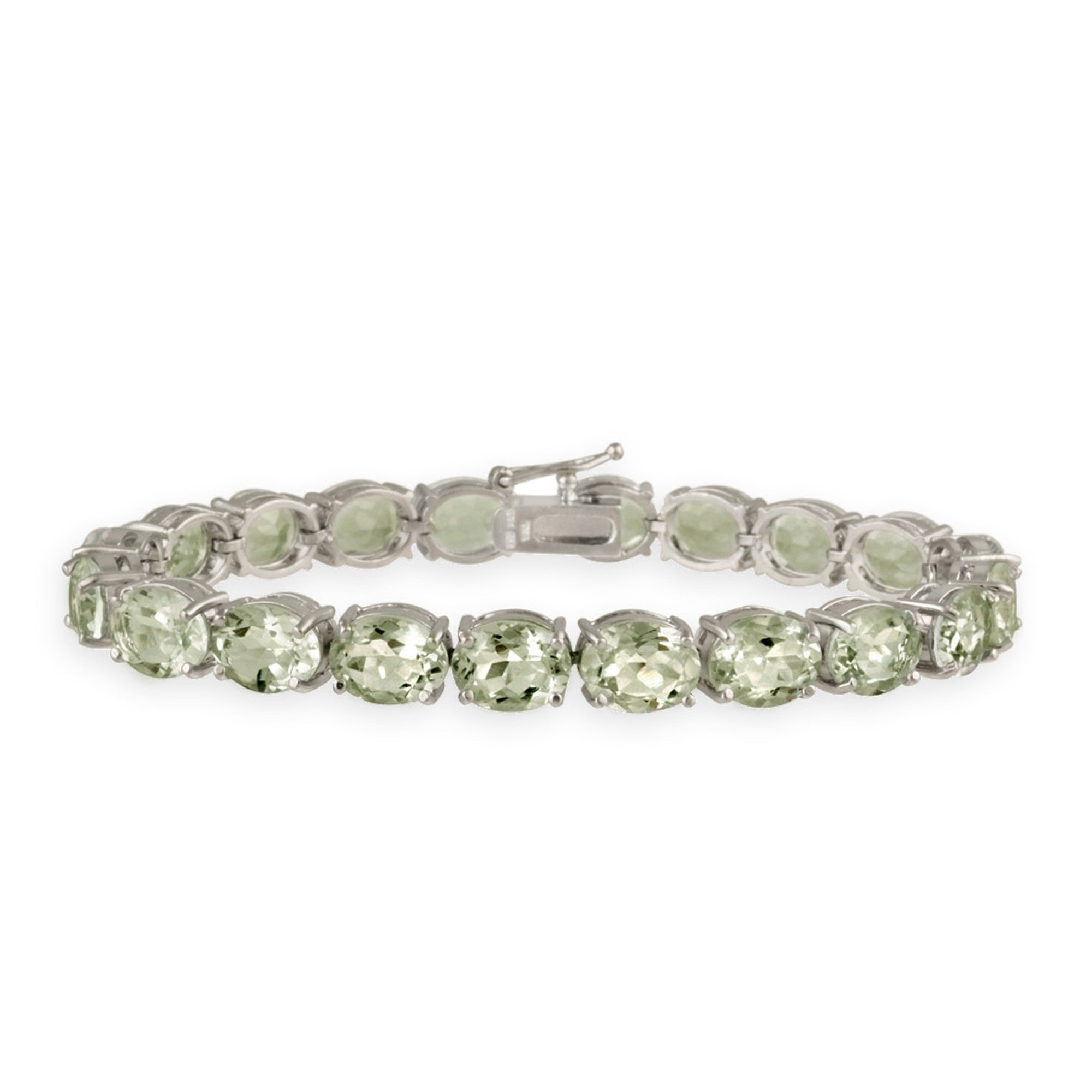 Gemstone Charm Bracelet With Clasp Fastening - Sterling Silver / Green Amethyst