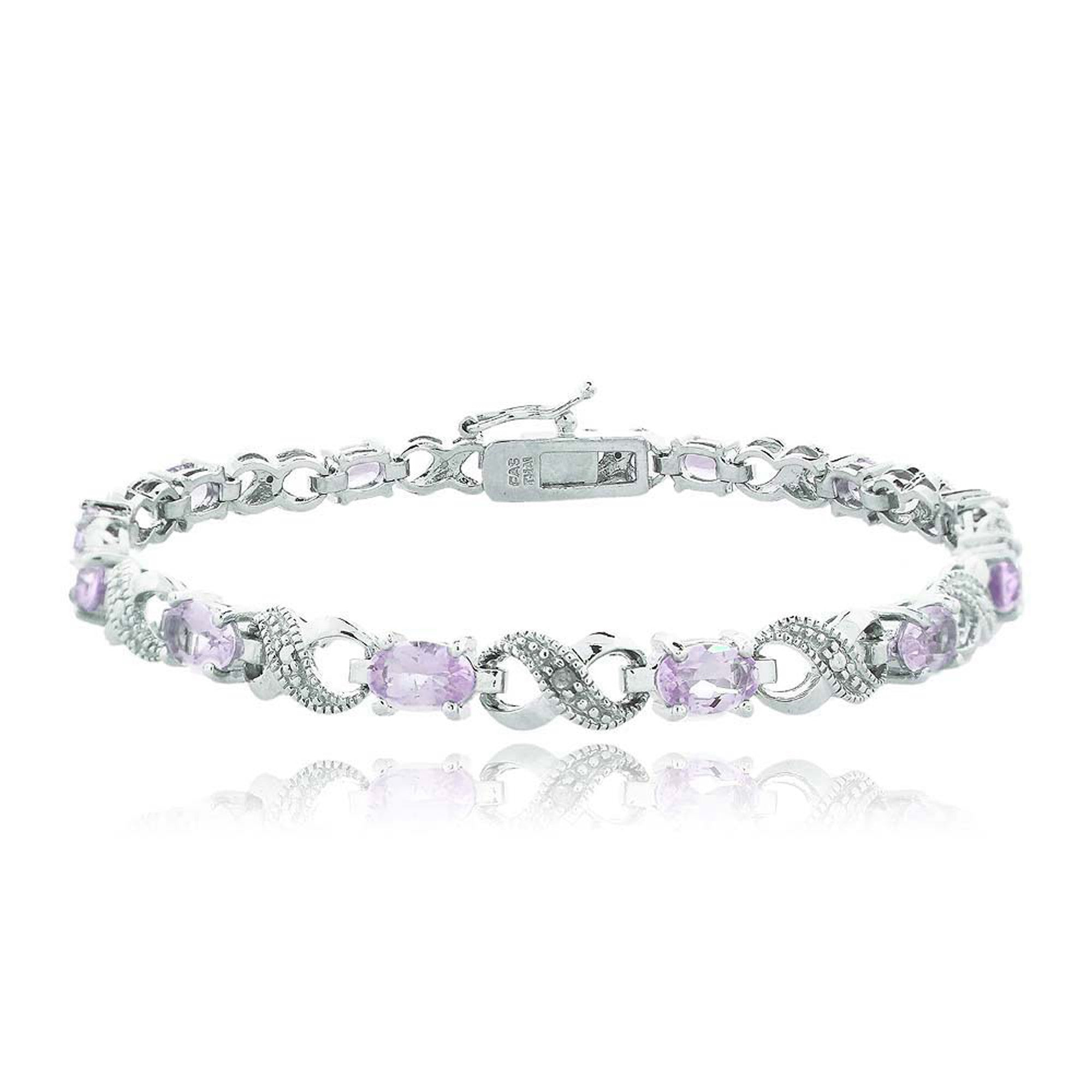 Infinity Link Bracelet With Diamond & Gem Accents - Amethyst