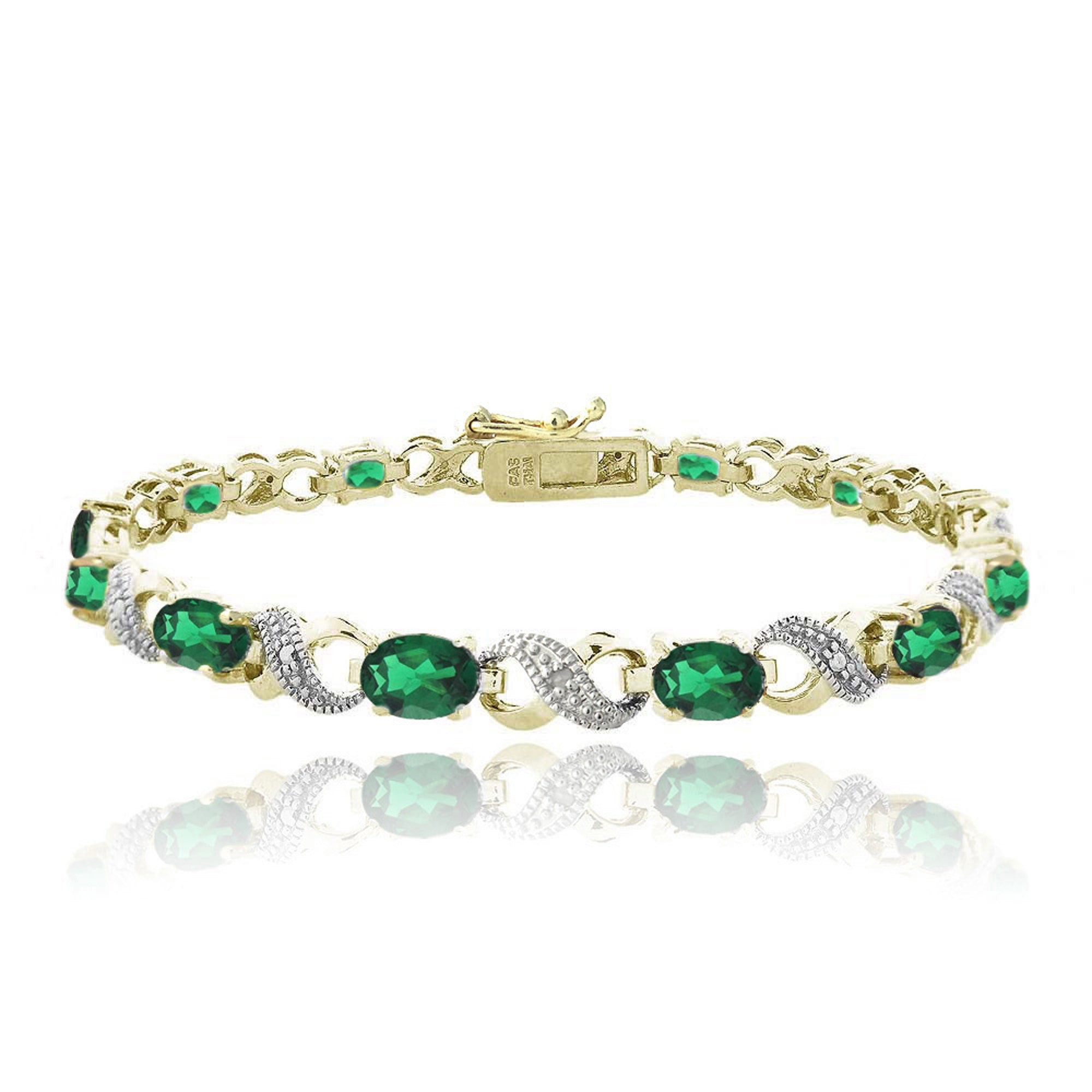 Infinity Link Bracelet With Diamond & Gem Accents - Created Emerald