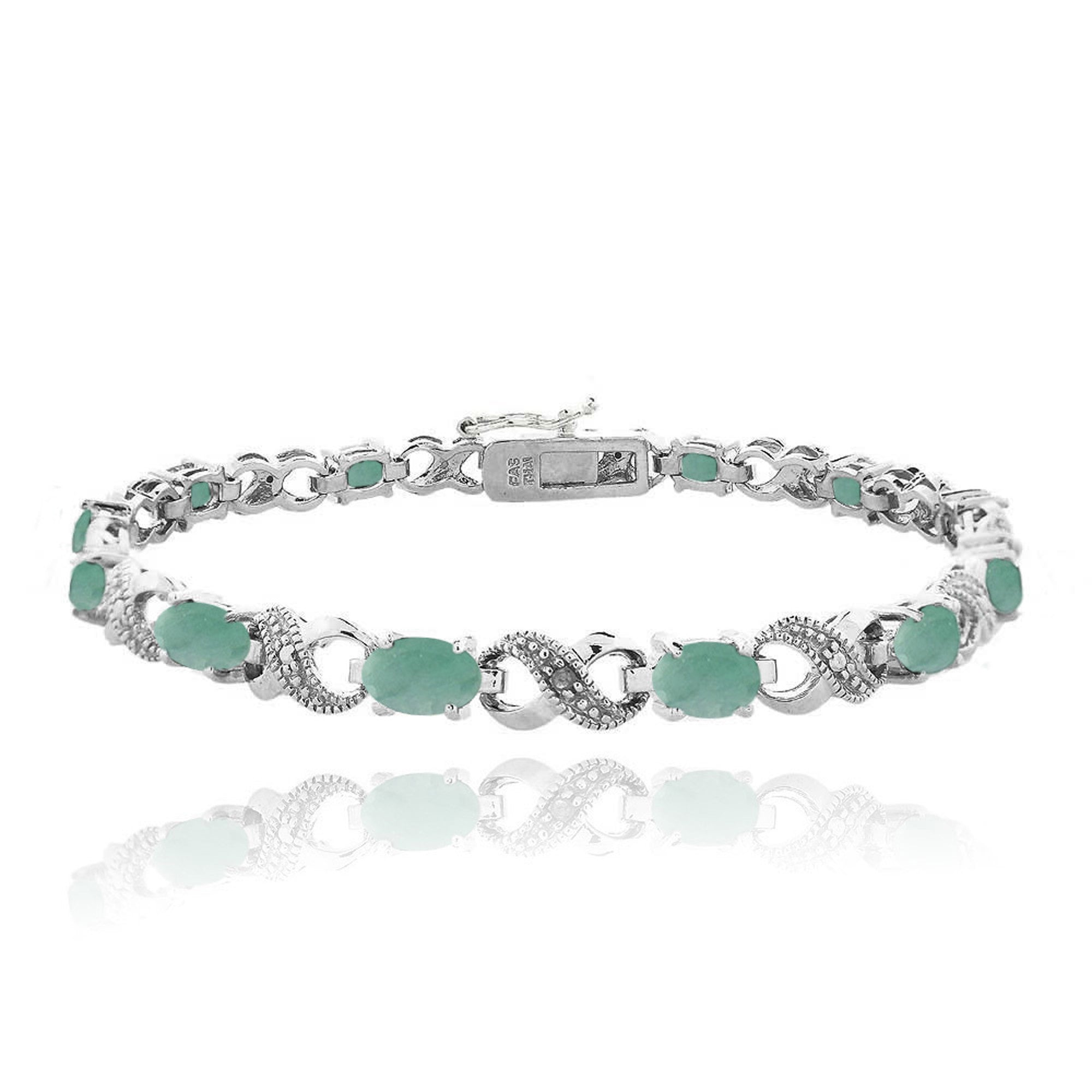 Infinity Link Bracelet With Diamond & Gem Accents - Emerald