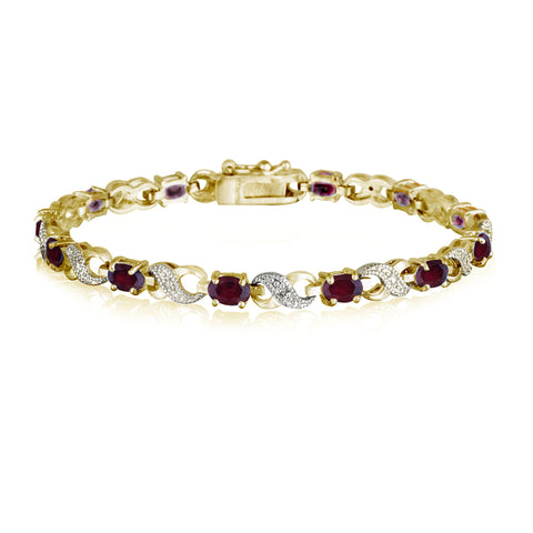 Infinity Link Bracelet With Diamond & Gem Accents - Gold / Created Ruby