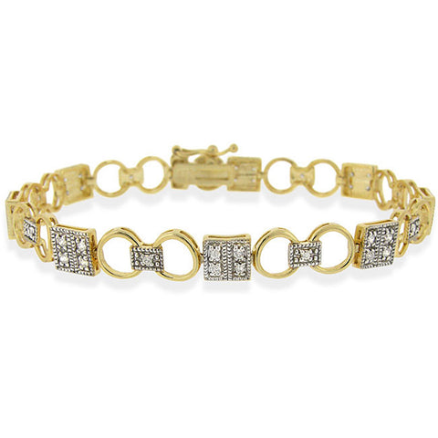 24k Goldplated Sterling Silver Bracelet With Cubic Zirconia Accents