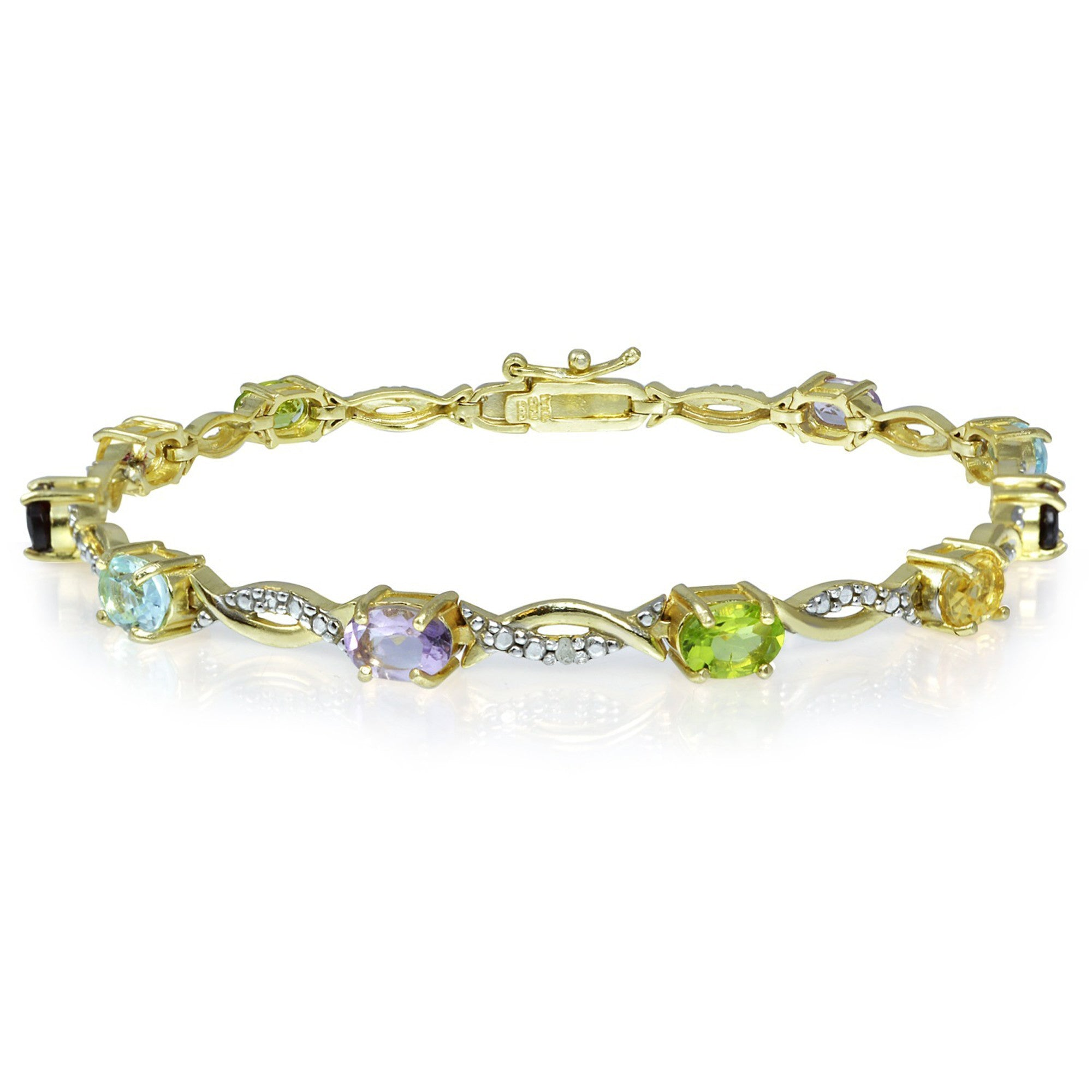 18k Gold Over Sterling Silver Bracelet With Diamond & Gem Accents