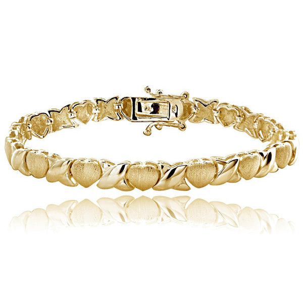 18K Gold Over Silver Hugs & Kisses Bracelet