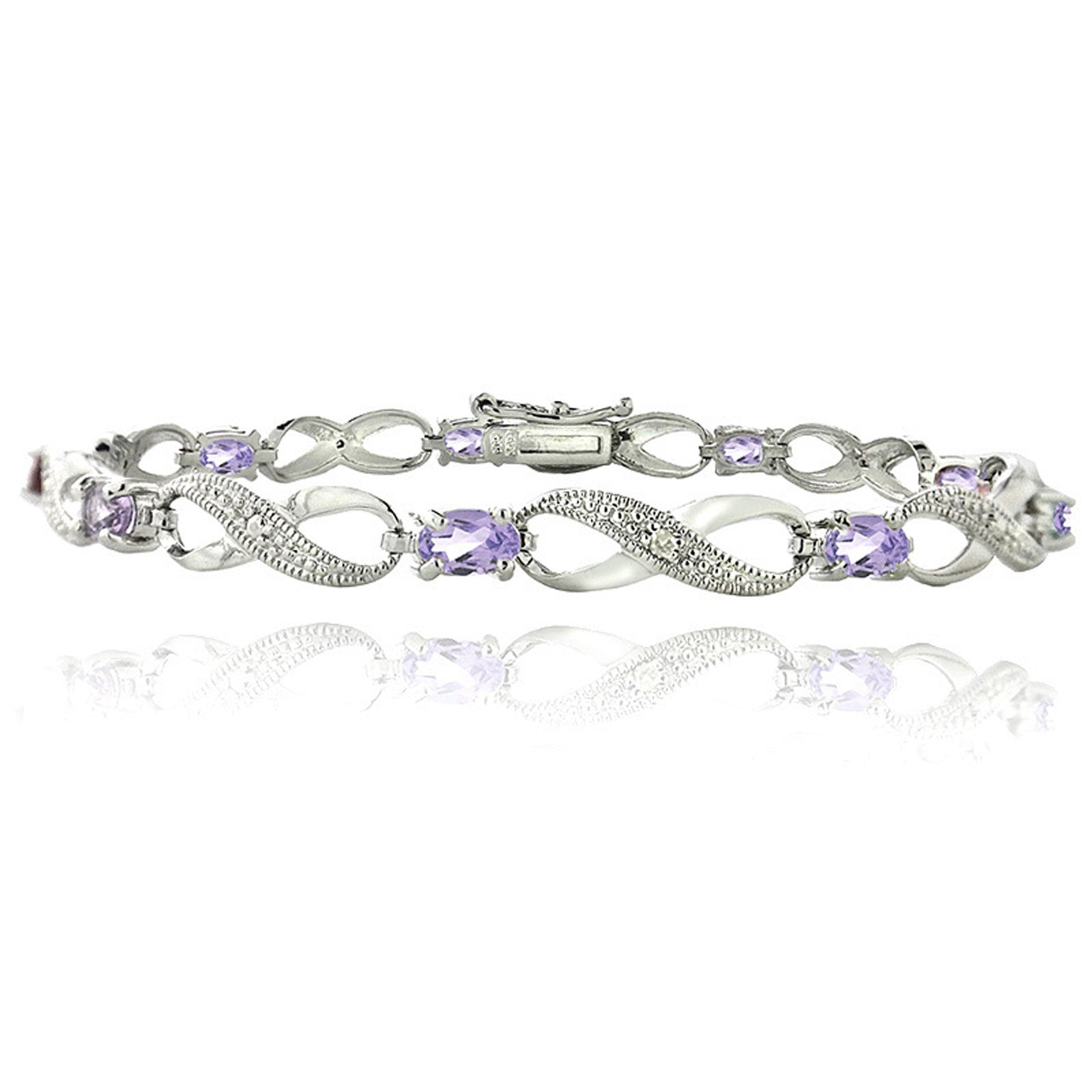 Infinity Bracelet With Diamond & Gem Accents in a Linked Style - Amethyst