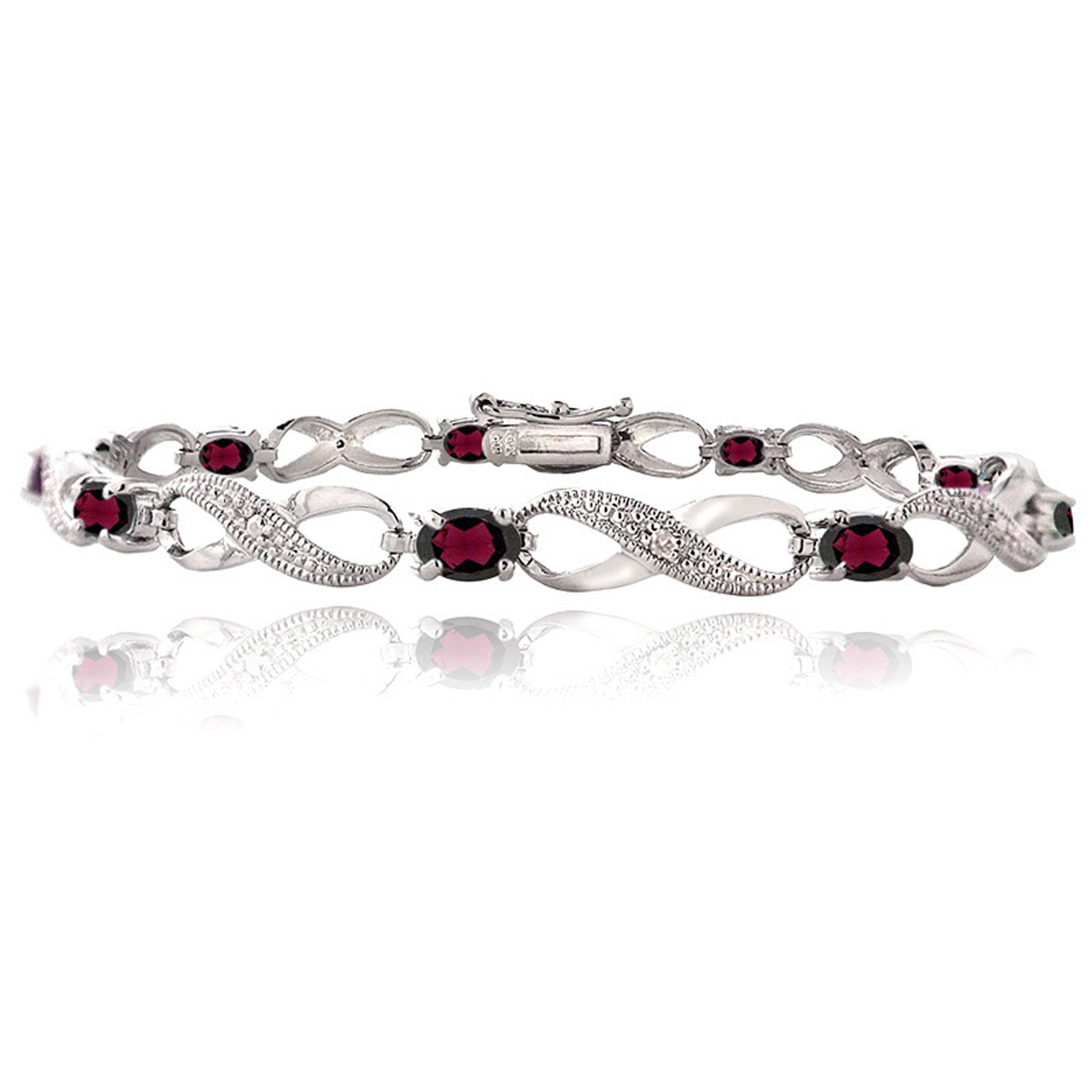 Infinity Bracelet With Diamond & Gem Accents in a Linked Style - Garnet