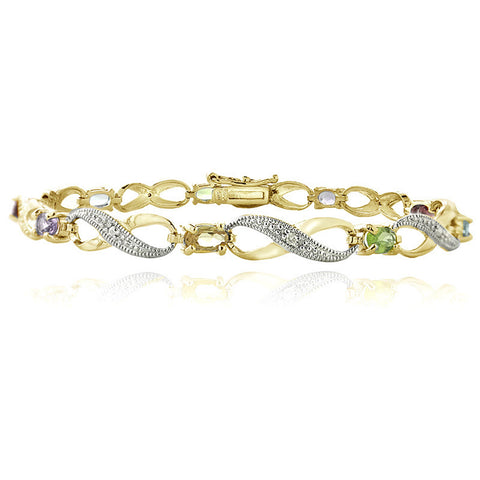 Infinity Bracelet With Diamond & Gem Accents in a Linked Style - Gold / Multi