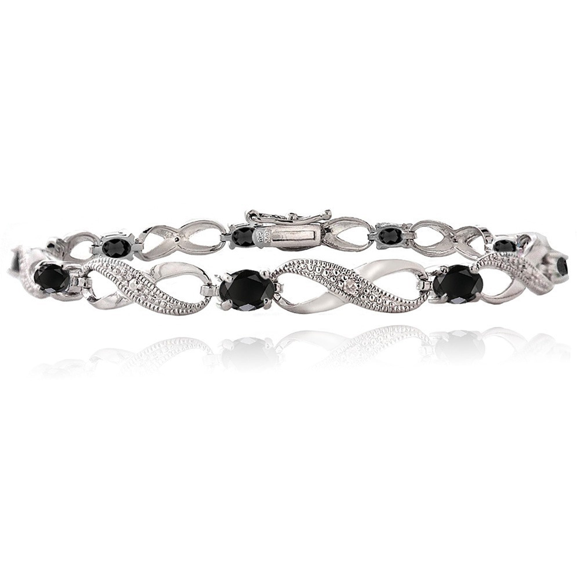 Infinity Bracelet With Diamond & Gem Accents in a Linked Style - Sapphire
