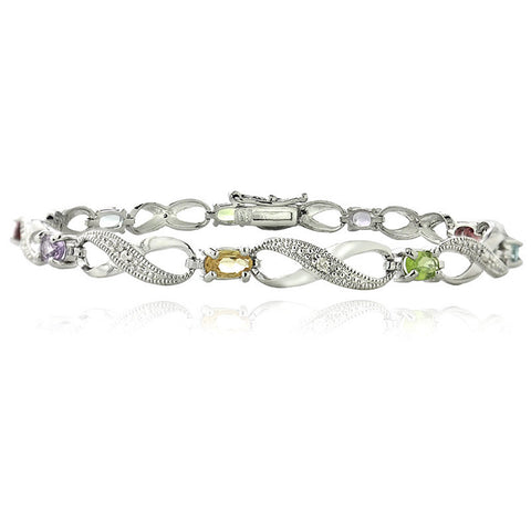 Infinity Bracelet With Diamond & Gem Accents in a Linked Style - Silver / Multi