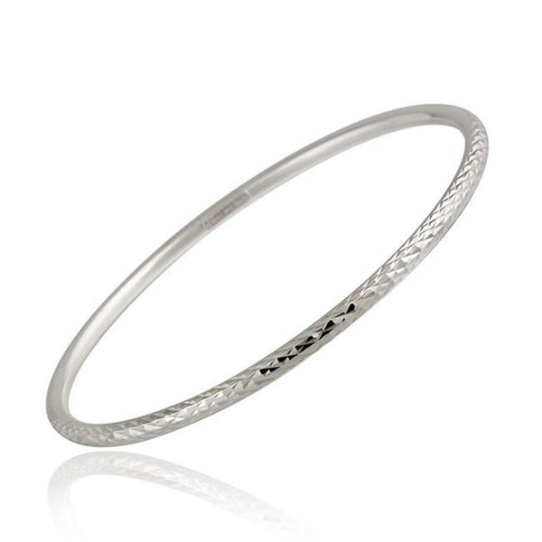 Diamond Cut Finish Bangle Bracelet in Sterling Silver