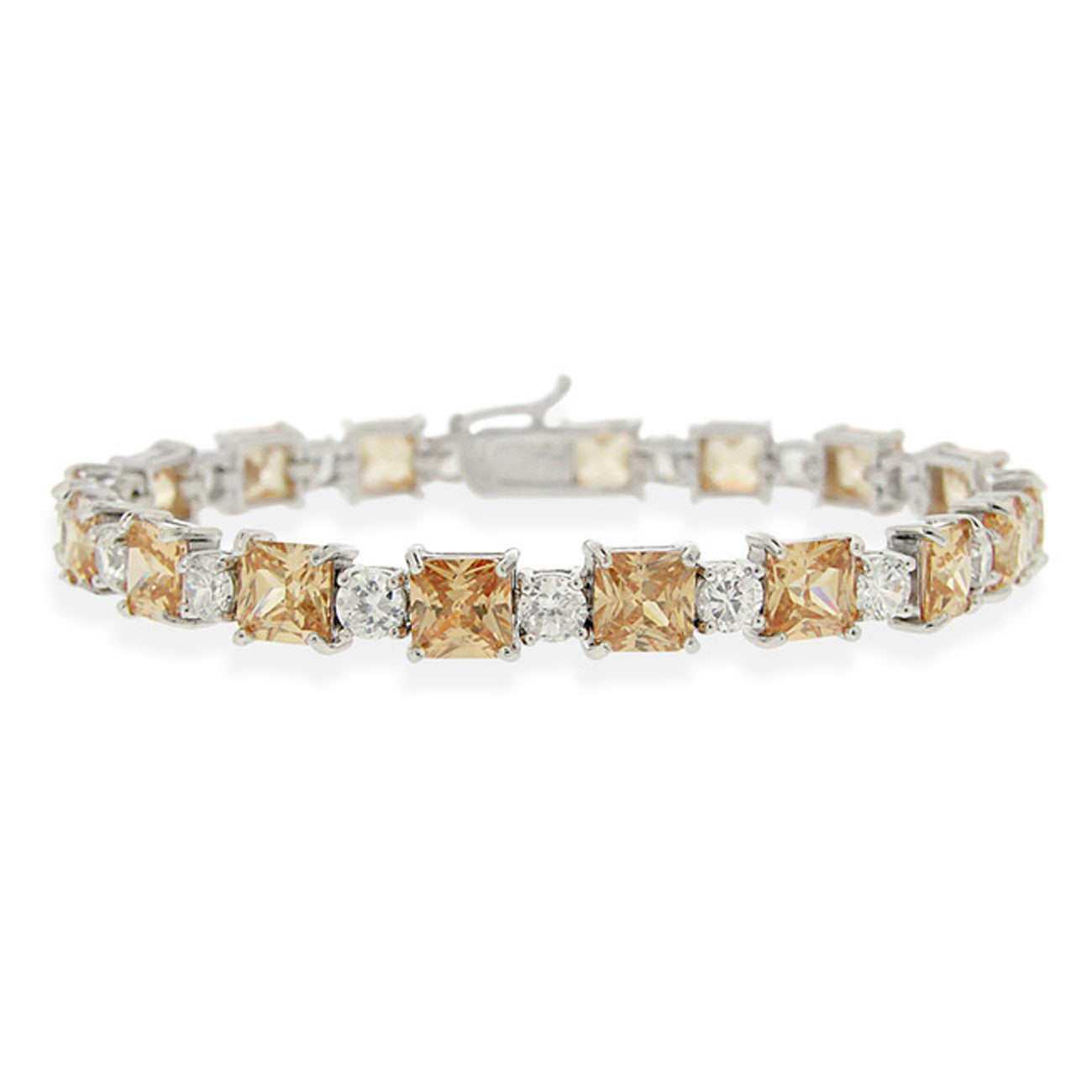 Champagne Cubic Zirconia Accented Bracelet in Sterling Silver
