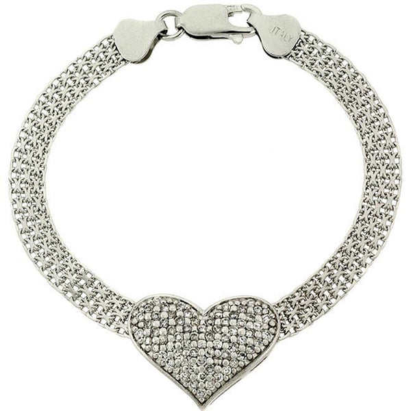 Heart Mesh Chain Bracelet With Cubic Zirconia Accents in Sterling Silver