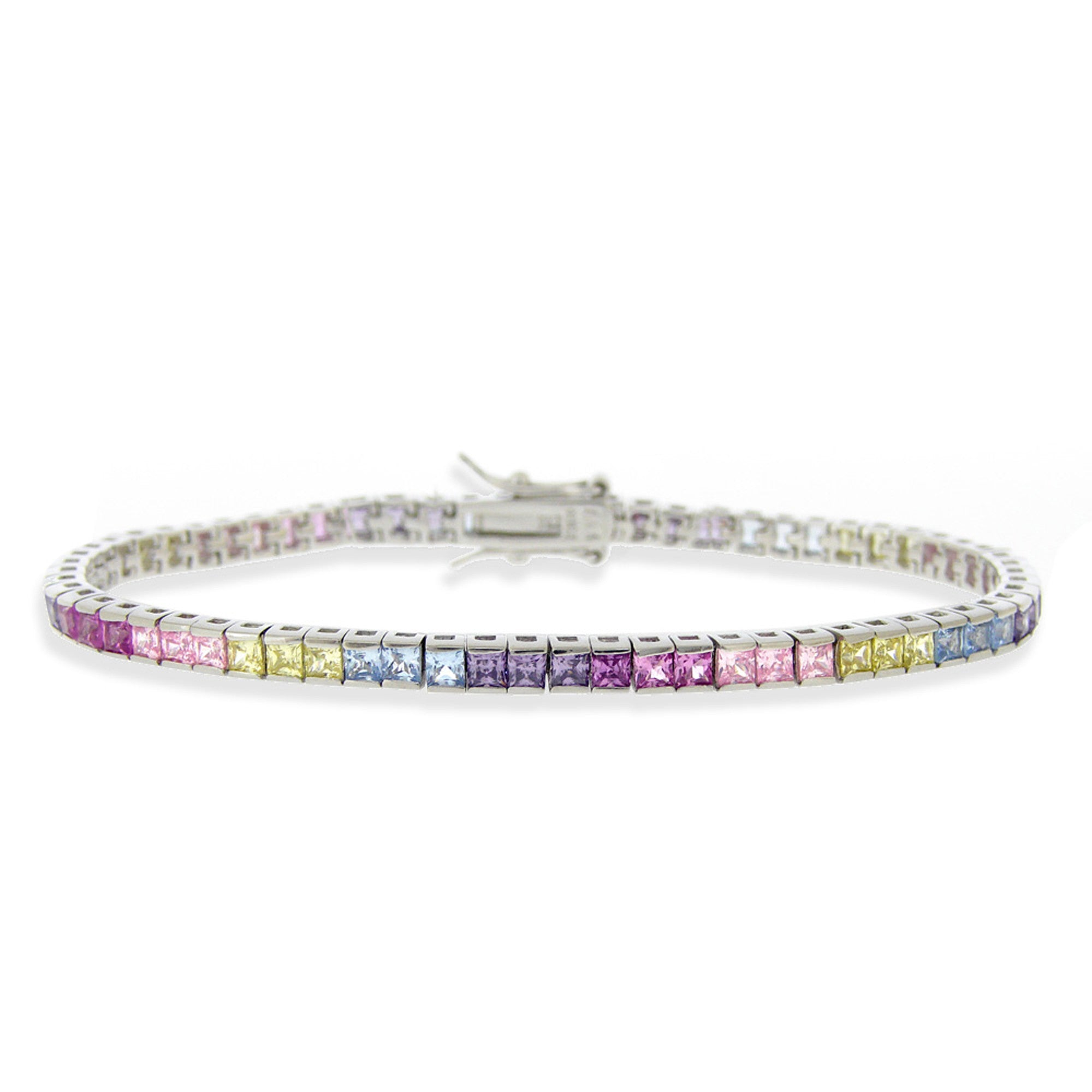 Cubic Zirconia Accented Bracelet in Sterling Silver - Multicoloured