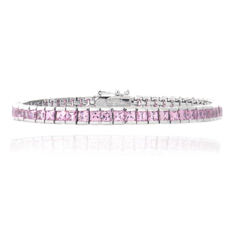 Cubic Zirconia Accented Bracelet in Sterling Silver - Pink