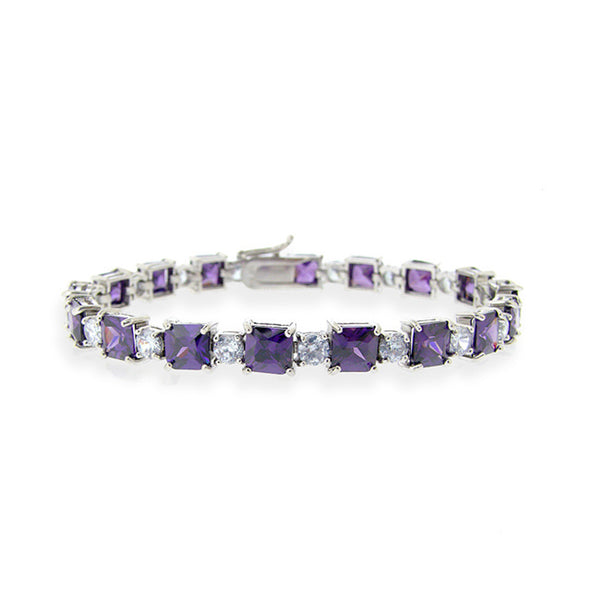 Purple & Lavender Cubic Zirconia Bracelet In Sterling Silver