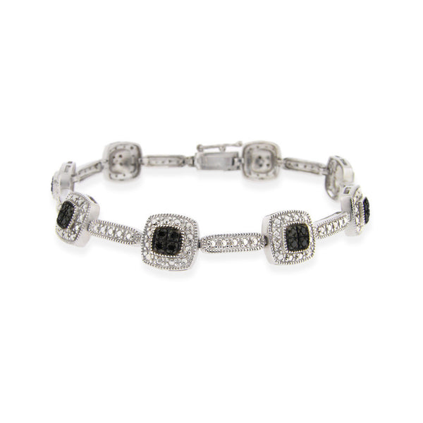 2/5 Carat Diamond Linked Bracelet in Sterling Silver - Black Diamond