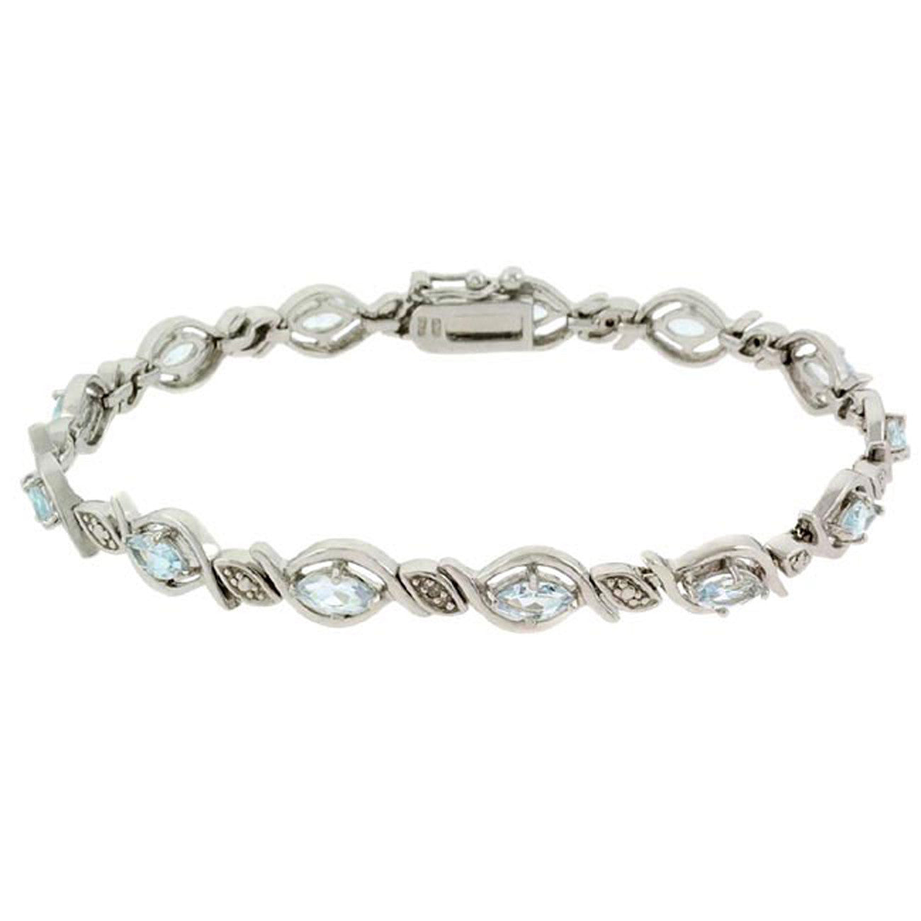 Blue Topaz Diamond Accented Bracelet in Sterling Silver