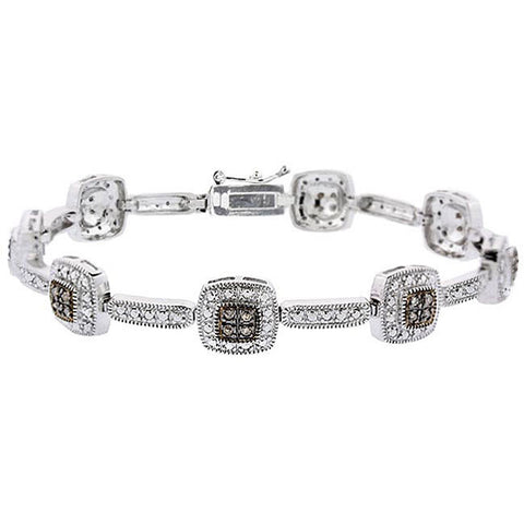 2/5 Carat Diamond Linked Bracelet in Sterling Silver - Brown Diamond