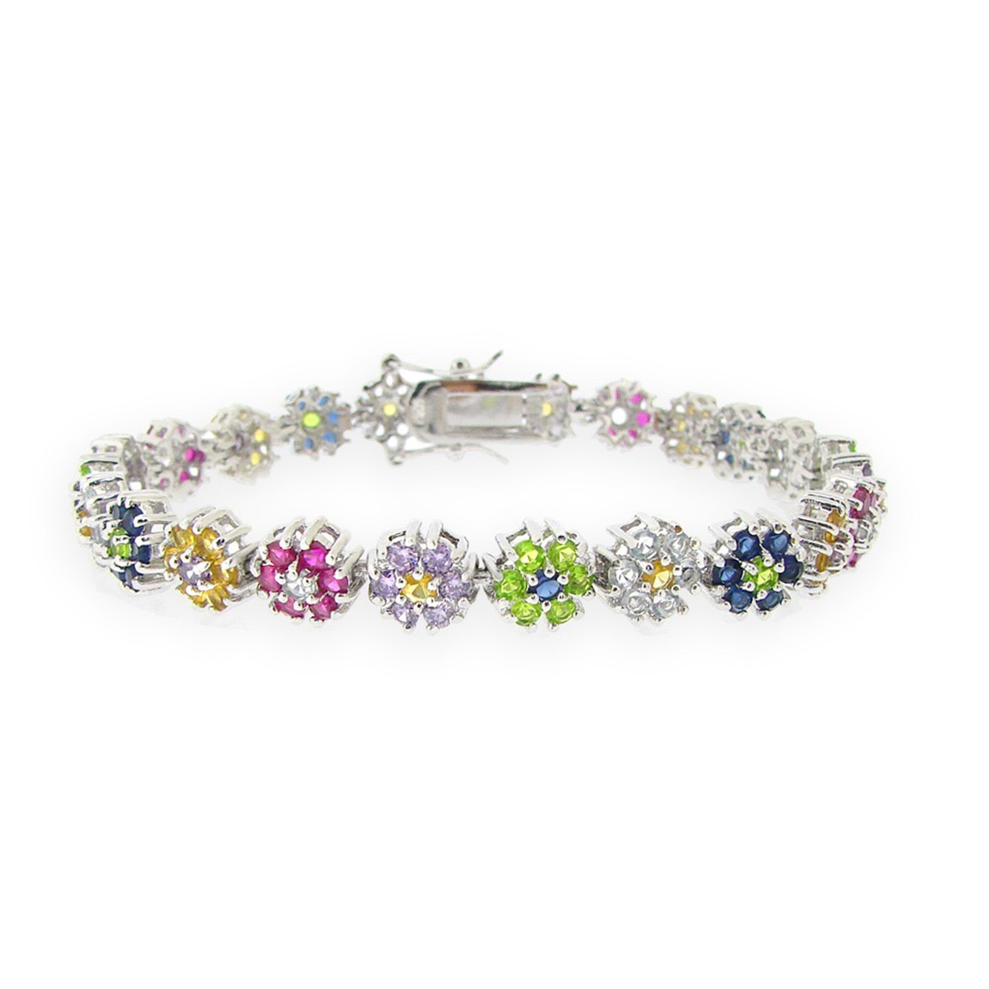Flower Linked Bracelet With Cubic Zirconia - 8 Inches