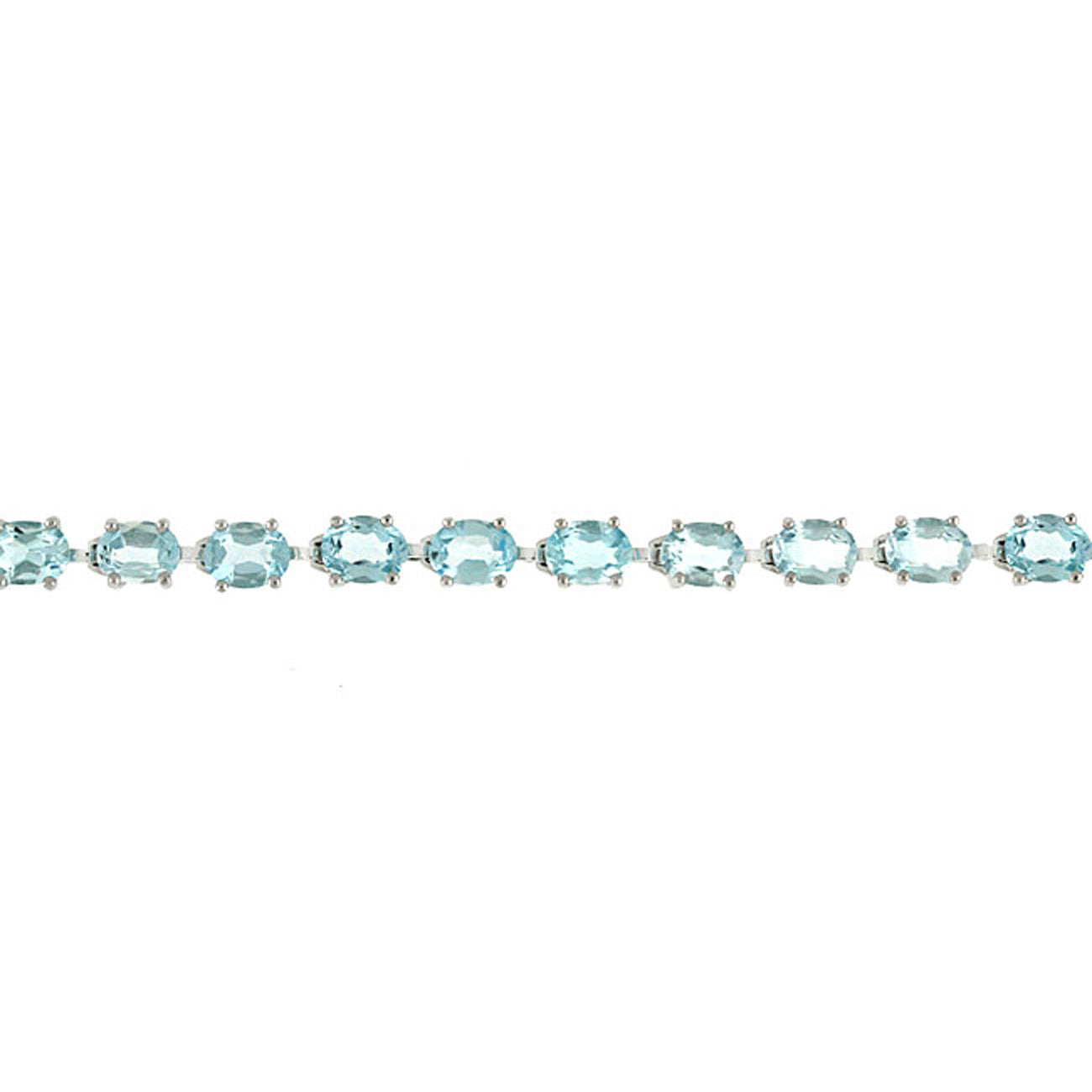 Blue Topaz Gemstone Linked Bracelet in Sterling Silver