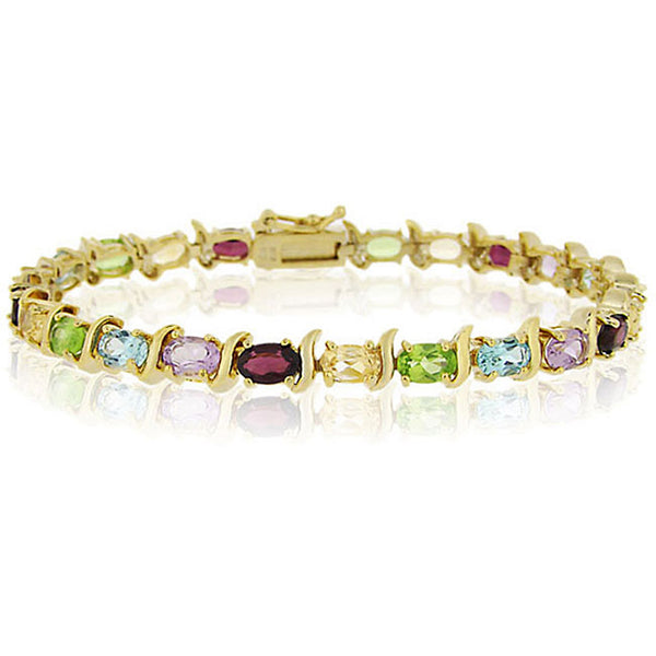 18k Gold Over Silver Gemstone Linked Bracelet