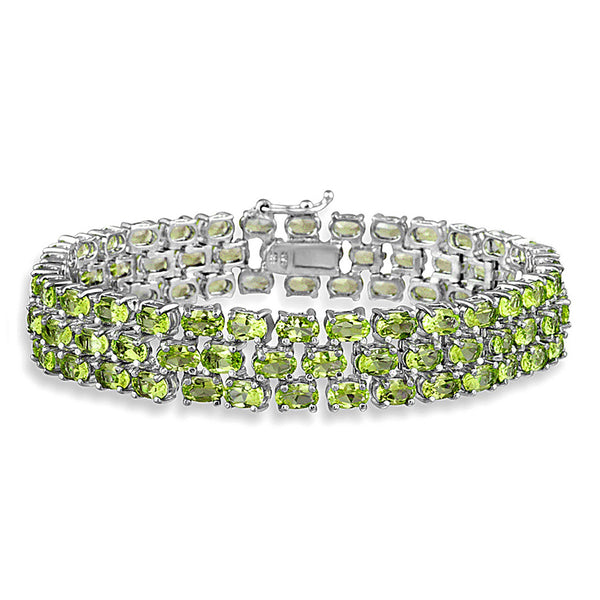 Sterling Silver 25 5/8 CTW Peridot Three Tier Bracelet