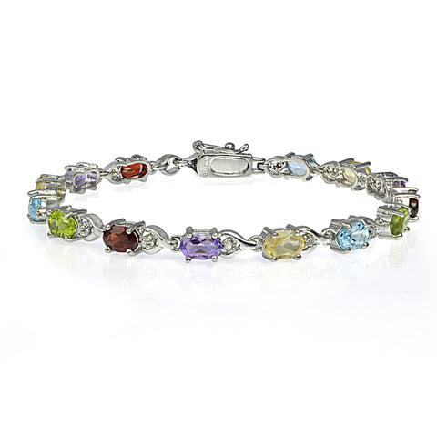 Multi Gemstone Linked Bracelet in Sterling Silver