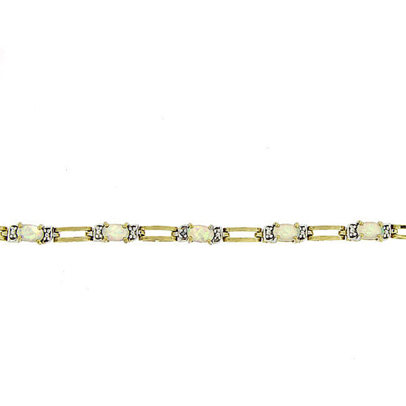 18k Gold Over Silver Lab Created Opal and Diamond Link Bracelet