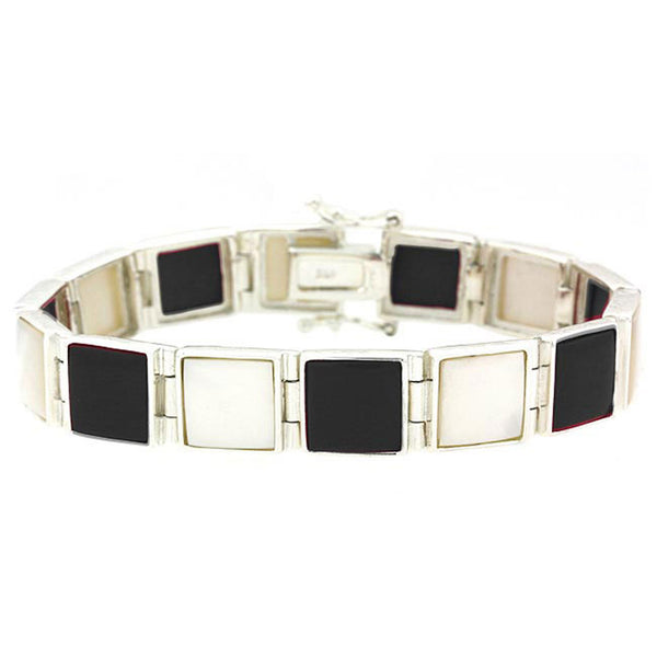 Mother of Pearl & Onyx Sterling Silver Bracelet