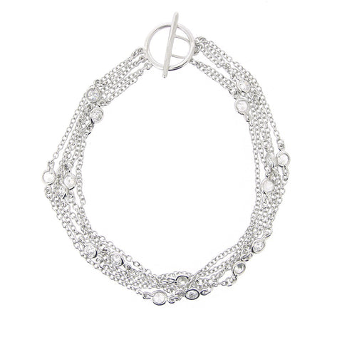 Five Strand Toggle Bracelet With Cubic Zirconia Accents in Sterling Silver