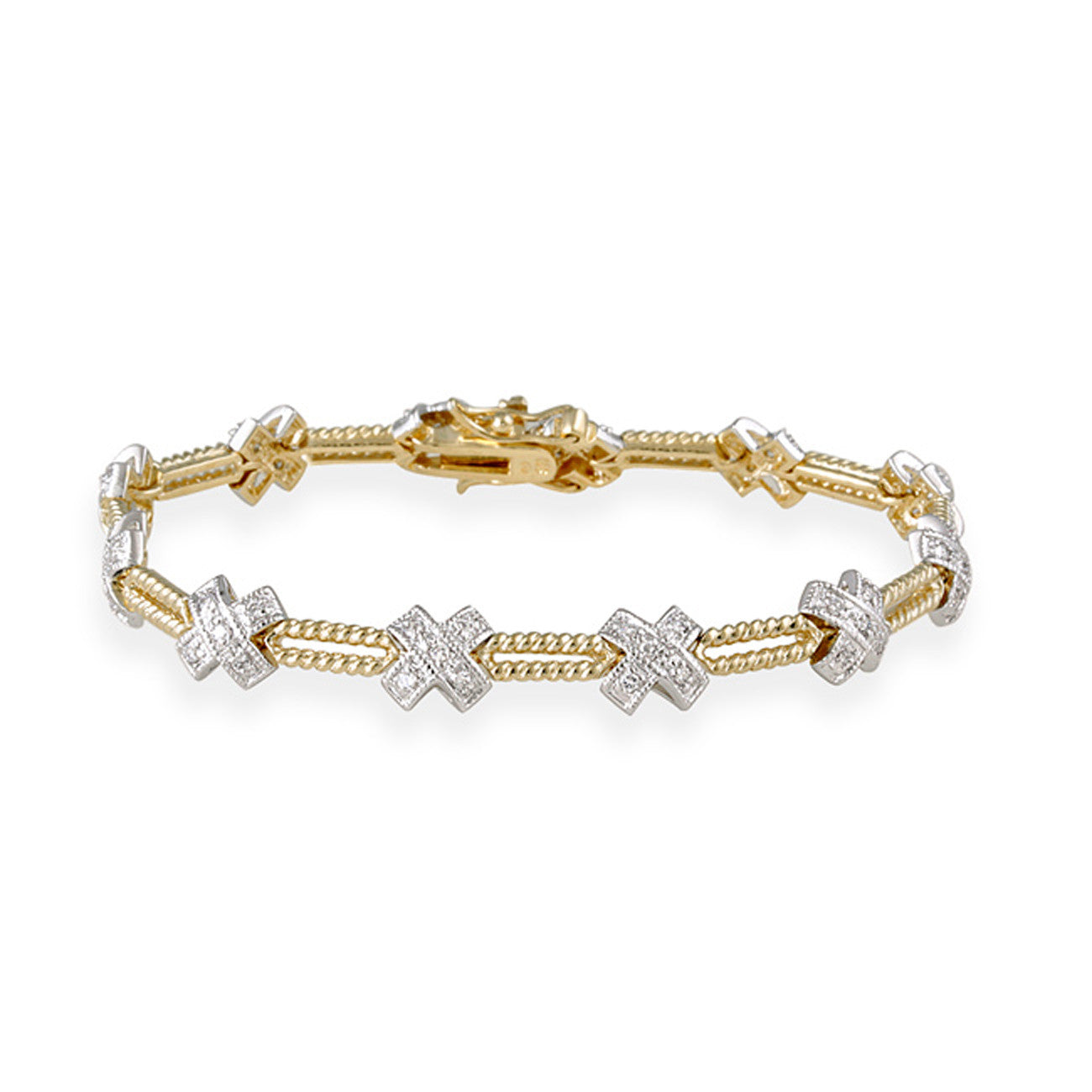 24k Gold Over Silver Two Tone Cubic Zirconia Bracelet