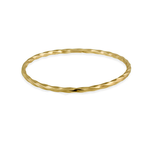 18k Gold Over Silver Twisted Style Bangle Bracelet With Diamond Cut Finish